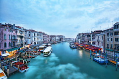 Grand Canal as seen from Rialto Bridge 2 (cabe26) Tags: city trip travel venice vacation italy night canon boats eos rebel boat canal europe italia overcast grand plugin xs hdr highdynamicrange grandcanal topaz adjust vennezia boattrails