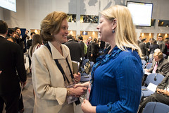 Mary Crass greets Catharina Elmsäter-Svärd at the Opening Plenary