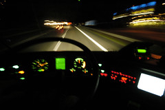 A2 by night im Bus