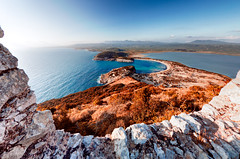 Voidokoilia Pylos (dtsortanidis) Tags: blue light sea summer sky sun seascape green castle nature canon landscape evening europe colours mark perspective fromabove greece ii 5d vacations ef mk dimitris dimitrios peloponnisos 815mm tsortanidis