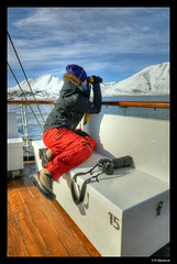 Scouting photographer in the Arctic (vegarste) Tags: summer norway boat norge clothing nikon europe fotograf photographer outdoor sommer norwegen svalbard arctic binoculars telephoto polar hdr spitsbergen båt hurtigruten hurtigruta d90 3xp photomatix nordstjernen arktis kikkert 3exp liefdefjorden telelinse