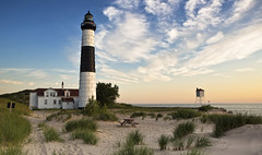 Big Sable Point (Robby Ryke) Tags: sunset lighthouse beach sand michigan lakemichigan ludingtonstatepark bigsablepoint greatlakeslighthouse canonmarkiii