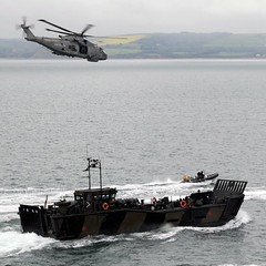 Royal Navy Merlin Helicopter with Royal Marines Landing Craft During Olympics Security Exercise (Defence Images) Tags: uk ex boat exercise aircraft military free utility games security equipment helicopter merlin british olympic olympics landingcraft weymouth defense defence atsea guardian peopleatwork london2012 royalnavy royalmarines lcu hmmk1 mk10 opolympics