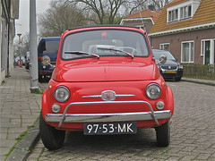 97-53-MK FIAT 500, 1970 (ClassicsOnTheStreet) Tags: red rot classic amsterdam rouge rojo fiat voiture oldtimer streetphoto spotted 1970 500 1970s seventies rood rosso streetview fiat500 2012 redcar aircooled pkw gespot luchtgekoeld straatfoto 2cylinder carspot kometensingel cwodlp 2cilinder luchtkoeling 9753mk