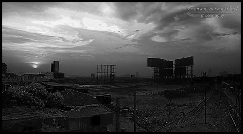 Sunrise over the slums - HDR (B&W)