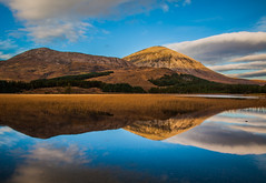 Skye (Boyd Hunt) Tags: blue trees summer sky mountains reflection water grass clouds canon reeds scotland highlands hills loch