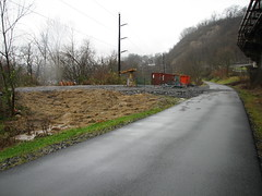 120611 Rail Trail Progress (1) (CityofMorgantown) Tags: west wall work virginia construction crane rail trail wv morgantown drill retaining pave caperton