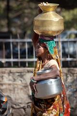 Lady with Pots _6671 (hkoons) Tags: india asia central vessel bowl pot pots copper bowls brass rajasthan bundi hadoti