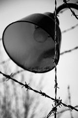 Dachau - Lamp (LhiannanShee) Tags: bw fence germany barbedwire dachau excursion concentrationcamp mygearandme mygearandmepremium rememberthatmomentlevel1