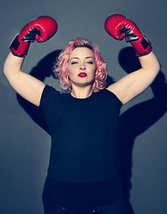 Boxer Girl (MonikaM Photography) Tags: woman girl beautiful sport box marilynmonroe competition victory winner boxer 50s olympics pinkhair septum boxinggloves redlipstic