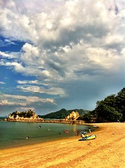 (azatogori) Tags: travel sea sky cloud mountain color beach nature rock hiroshima app cooling iphone iphoneography