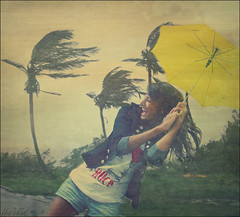 More than I can take.. (UnAnGeL#_#) Tags: trees summer sky storm love smile yellow umbrella fun day wind