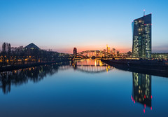 New European Central Bank Headquarters (Philipp Klinger Photography) Tags: longexposure bridge blue windows light reflection window water skyline architecture night skyscraper reflections river germany de deutschland lights am long exposure european cityscape hessen frankfurt main central bank railway hour highrise bluehour brcke spiegelung frankfurtammain ecb hesse ger mainhattan ezb europeancentralbank europischezentralbank zentralbank europische deutschherrnbrcke