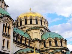 Sofia, Bulgaria - The St. Alexander Nevski Cathedral (Stella VM) Tags: street city blue sky architecture clouds sofia bulgaria