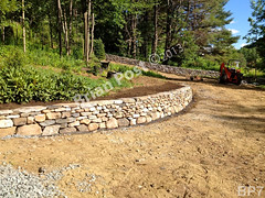 WM Brian Post 7, curved retaining wall, flat cap stones, vertical copping, dry laid stone construction, copyright 2014