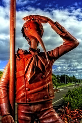 Kiwi Boy @ Whakatane (fotonut NZ) Tags: boy newzealand sculpture orange statue metal rust outdoor pole cbd kiwi hdr whakatane
