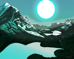 Banff National Park 2.0 (Christoffer Boman) Tags: winter painting landscape comic digitalart conceptart ligneclaire