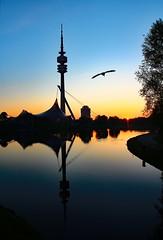 Good morning, Munich (werner boehm *) Tags: reflection silhouette munich fernsehturm tvtower olypark wernerboehm