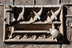 Barcelona (Facade of Casa de lArdiaca, in the Gothic Quarter) . Mailbox decorated with an allegory of Justice. 1902. Design by Llus Domnech i Montaner, architect, carved by Alfons Juyol, sculptor (Catalan Art & Architecture Gallery (Josep Bracons)) Tags: barcelona bird art mailbox justice gallery arte turtle kunst gothic archive ivy catalonia quarter law balance catalunya swallow tortuga allegory hedera archivo lawyer modernismo hirondelle tortue justicia catalua catalan modernisme lettres lierre boite jugendstil hiedra dret catala abogados gotic alfons bustia ardiaca derecho montaner buzon droit 1902 barri katalonien josep catalogne golondrina balanza avocat allegorie oreneta alegoria art modern arcediano casa domenech box style heura advocats bracons nouveau barrio letter gotico juyol arxiu