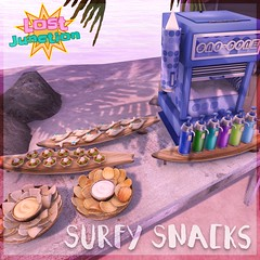 [LJ] Surfy Snacks Promo Pic 2 (Tala Laval) Tags: life party summer food snow beach cookies yummy key mesh machine shrimp donuts hawaiian second snacks cones watermellon skewers kebabs elephante gacha givers gatcha