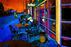 summer evening (j.p.yef) Tags: street denmark restaurant mainstreet digitalart tables yef comicstyle vejersstrand peterfey jpyef cafpeople