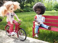 At the Park (Jay Bird Finnigan) Tags: park bike bicycle harrypotter fairyland wwf amond spoonflower littlefee dollsbe