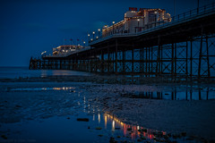 Worthing Pier Blue Hour (Dave Sexton) Tags: worthing england unitedkingdom gb west sussex uk twighlight bluehour low tide beach sand pebbles water lights reflections longexposure pentax k1 2470 f28