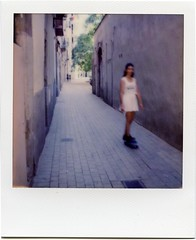 Pennygirl (bjarvike) Tags: barcelona street streetphoto dorn barceloneta pennyboard sx70 polaroid impossible impossibleproject