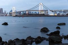 Rainbow bridge Odaiba Tokyo Japan (kemboslice) Tags: travel bridge blue sunset vacation water japan canon tokyo rocks odaiba f28 2470