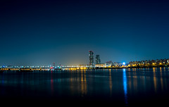 Han River (shimdakyum) Tags: park bridge blue light summer reflection building night river nikon riverside seoul han j5 hangang