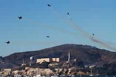Blue Angels break over Alcatraz (ChasenSFO) Tags: blue angels blueangels usn navy usnavy f18 fa18 hornet vfa airshow air show fleetweek san francisco sf sanfrancisco alcatraz therock stunt jets airplanes bayarea