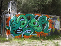 Graffiti piece on a pumpstation near Magill stone quarry, South Australia (danimations) Tags: streetart green art graffiti mural colorful piece