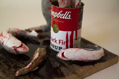 """Campbell's Shark Fin Soup"" (detail) (kozyndan) Tags: sculpture art museum soup death shark acrylic can slaughter sculpey sharks resin fin campbells extinction kozyndan greed ignorance sharkfin andywarholtribute"