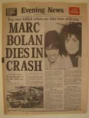 Marc Bolan dies, September 1977, newspaper front page (Paul-M-Wright) Tags: uk england music news london car rock dead star newspaper crash front pop headline headlines page cult 70s killed 1970s common 1977 seventies frontpage barnes trex glamrock carcrash marcbolan dies barnescommon eveningnews 16september gloriajones