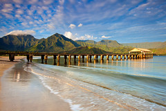 hanalei pier (*michael sweet*) Tags: ocean travel sea vacation mountains beach beautiful landscape bay pier sand scenic wave resort exotic kauai hawaiian destination hanalei