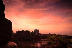 Sunrise over Hi Tech City Hyderabad (Swasti Verma) Tags: morning nature sunrise landscape nikon rocks hyderabad 2012 swasti d7000