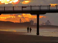 Walking into the sunset. (paul downing) Tags: sunset beach canon pier saltburn pdp steelfurnace coastaluk pd1001 sx10is pauldowning