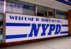 Manhattan, New York - USA (Mic V.) Tags: new york city nyc blue light usa ny apple station america square us big respect state manhattan united 911 police nypd cop service law times states enforcement squad emergency cpr department courtesy mts unis dept professionalism amrique etats amerique tats