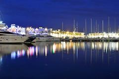 Linea de Luz (Fotomondeo) Tags: espaa water valencia night port reflections boats puerto noche spain agua nikon barcos alicante reflejos d7000