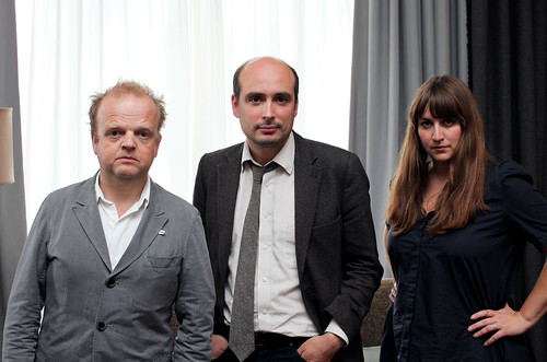Toby Jones, Peter Strickland and Mary Burke at a photocall for Berberian Sound Studio in Edinburgh