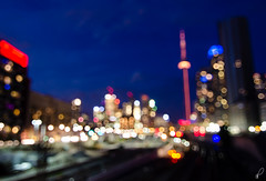 Tee Dot Bokeh [Explored] (Empty Quarter) Tags: street bridge toronto tower skyline night cn nikon focus track bokeh rail tokina bathurst f28 cityplace 1116 d7000