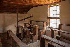Hauge Log Church - Rear Balcony with Window and Four Rows of Pews (bo mackison) Tags: windows wisconsin balcony historicchurch nationalregisterofhistoricplaces driftlessregion canon5dmarkii haugelogchurch originalpews daleysville southewesternwisconsin