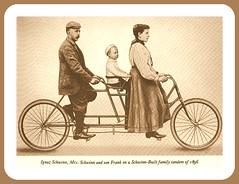 1896 Ignaz Schwinn, Mrs. Schwinn and son Frank on a Schwinn-Built family tandem (carlylehold) Tags: robert bicyclette keeper haefner carlylehold robertchaefner