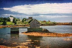 Blue Rocks (sminky_pinky100 (In and Out)) Tags: travel houses sea cloud canada tourism water landscape boat rocks pretty novascotia scenic textures coastal inlet bluerocks fishinghut omot cans2s