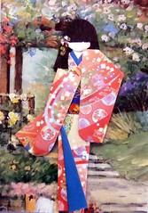 ATC1048 - By the flower bower (tengds) Tags: flowers blue red orange atc staircase geisha kimono obi origamipaper bower papercraft recycledpaper japanesepaper washi ningyo handmadecard chiyogami yuzenwashi japanesepaperdoll origamidoll tengds reusedcard