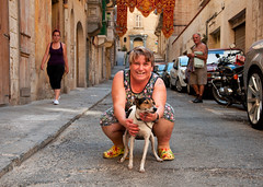 Lady and her dog (Charles Hamilton Photography) Tags: street portrait dog streetphotography streetportrait malta backstreet maltese valletta candidphotography characterstudy 18105mm nikond90