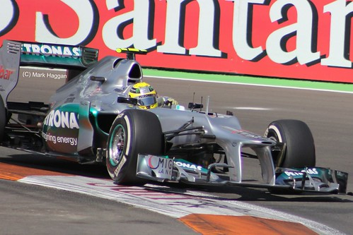 Nico Rosberg in his Mercedes F1 car at the 2012 European Grand Prix at Valencia