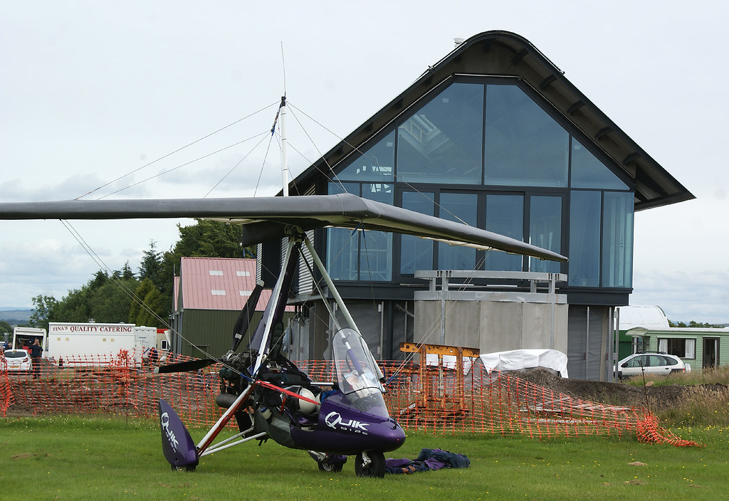 My microlight in front of the main first floor living area and the sunset balcony