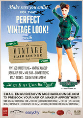 Tear sheet - Vintage Hair Lounge poster (Scott Chalmers - Photographer) Tags: vienna green vintage hair war lounge bodypaint 1940s ww2 pinup goodwood revival