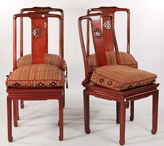 11. Set of (4) Chinese Hardwood Dining Chairs